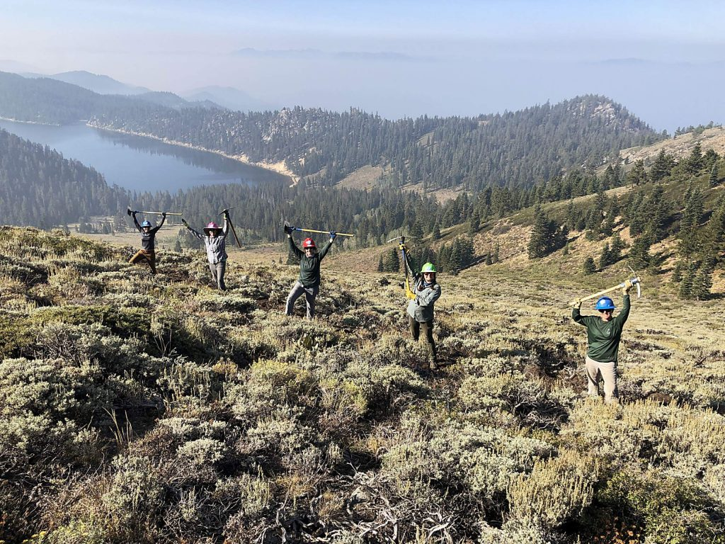 Volunteers worked on a re-route near Marlette Lake.