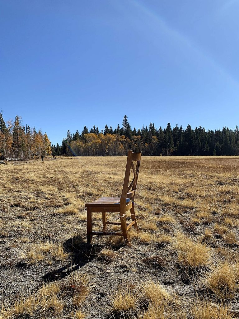 Random chair found in Page Meadows on Halloween. Perhaps a ghostly occupant?