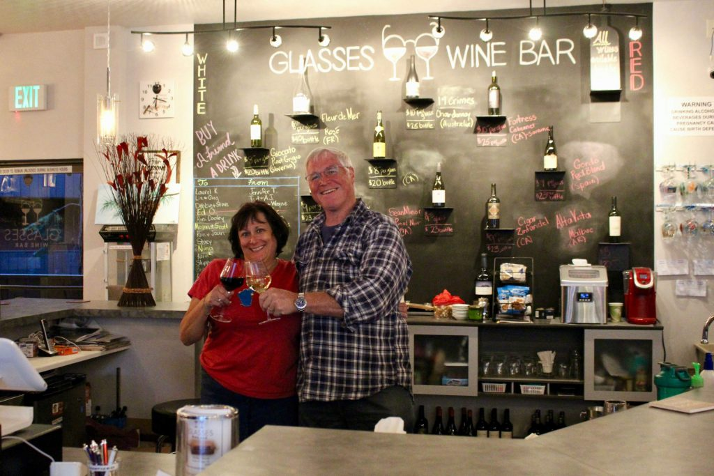 """Kathleen McInnis-Martens and Rob Martens want their guests to think of Glasses Wine Bar as their """"second living room."""""""