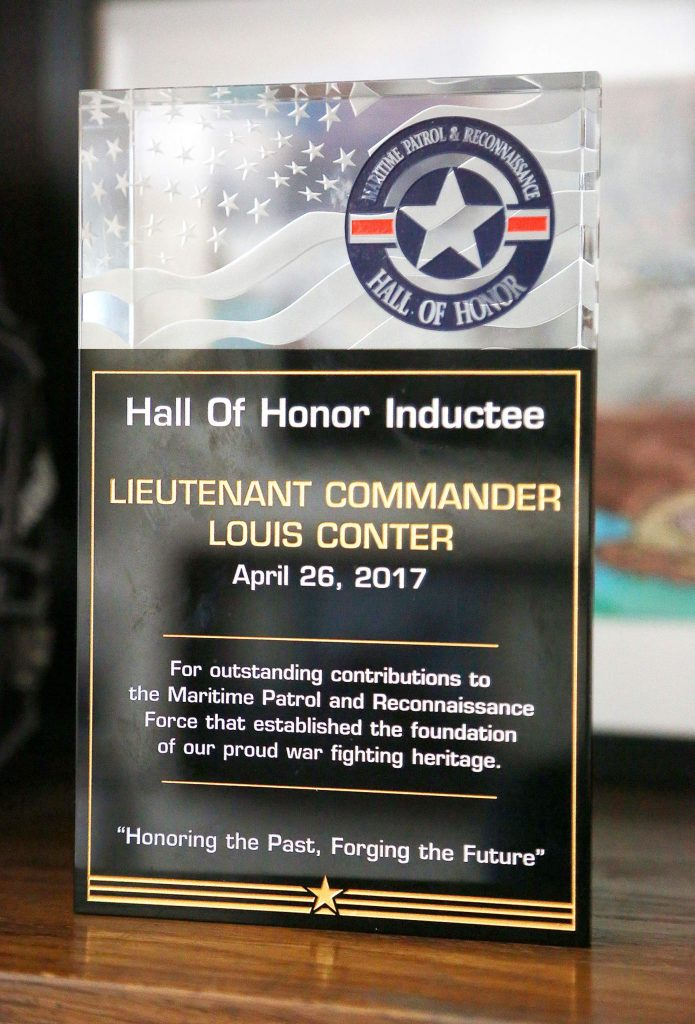 Of all of Louis Conter's awards and recognitions, this one signifying his induction into the Heritage International Pilots Association's Hall of Honor, he considers his highest honor. He received the recognition in 2017 for helping to save 219 stranded Australian troops during World War II.